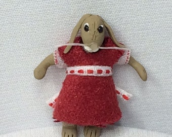 Miniature Fimo Brown Rabbit