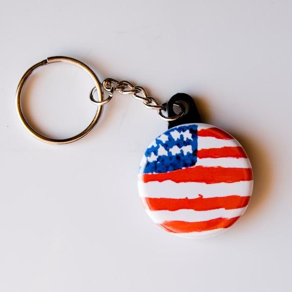 American Flag Patriotic Custom Guitar Pick Pendant Necklace Keychain