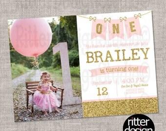 Pink Gold Glitter Sprakly Birthday Invitation- Printable Digital file