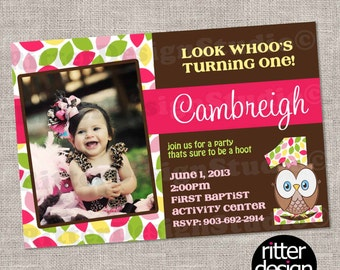 Look Whoos Turning 1 Owl Birthday Invitation - Printable