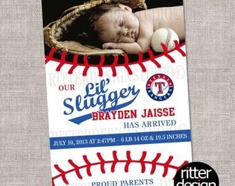 Baseball Texas Rangers Baby Birth Announcement - Printable