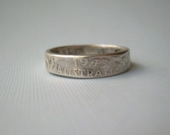 1943 WWII Australia Florin Coin Ring Size 9.75 King George VI-Vintage Antique Sterling Silver Soldier Trench Art-Mens Womens Band Jewelry