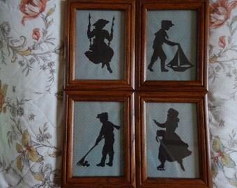 Set of Seasonal Inspired Scherenschnitte-hand paper cutting-framed