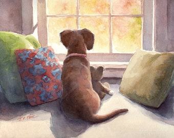 A Dog and its Companion  Art print of Watercolor Painting -  Pet, Boy's Room, Girl's Room, Friendship, Childhood, Companion