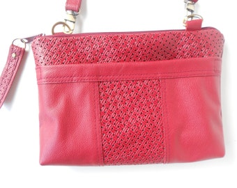 Red leather crossbody bag, red leather shoulder bag, sling bag, with woven leather trim.