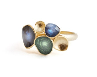 Blue bright ring, statement jewelry, enamel ring, geometric jewelry, gold blue ring, colorful jewelry, green ring, artisan jewelry