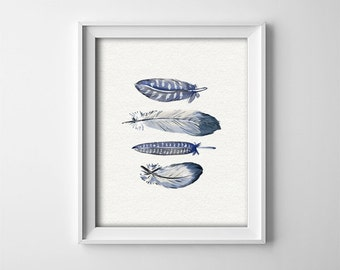 "INSTANT DOWNLOAD 8X10"" Printable digital art file -  Blue Grey Feathers - Gallery wall - Nursery wall decor - Poster - Bedroom - SKU:673"