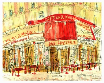 Amélie Café Paris Wall Art, FRENCH PRINT, 8 x 10, Parisian Painting, Paris Buildings, Café Des 2 Moulins, Watercolor Sketch, Paris Drawing