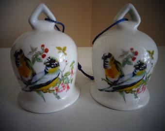 Vintage China Bells With Bird, Flower & Leaf Design, Set Of 2 - Collectible Bells - Vintage Bird Bell - Home Decor - Bell Collector