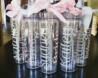 Wedding Tumbler, tumbler, bridesmaid, bridesmaid gift, personalized tumbler, personalized gift, bachelorette