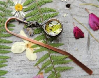 bookmark, herbarium, unique bookmarks, metal bookmark, moss, terrarium bookmark, mariaela