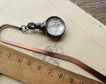 bookmark, herbarium, unique bookmarks, metal bookmark, dandelion, terrarium bookmark, mariaela