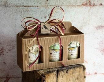 Florida Craft Jam Carry Box with Three Jars of Handcrafted Fresh Fruit Jams