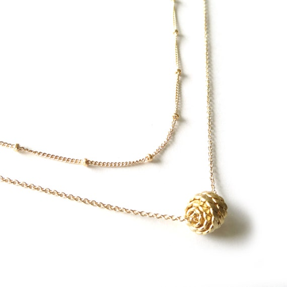 Multi Strand Necklace, Gold Layer Necklace, Gold Ball Necklace, Satellite Chain, Satellite Necklace, 14k Gold Filled Chain, Gold Pendant
