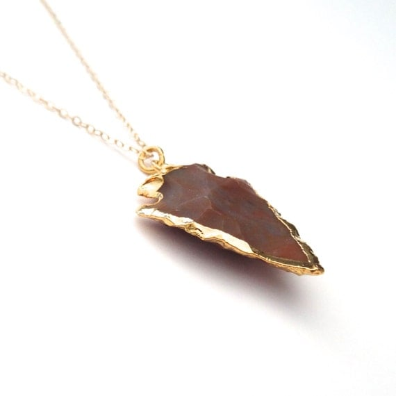 Stone Arrowhead Necklace, Arrowhead Pendant, Arrowhead Charm, Authentic Arrowhead, Arrowhead Jewelry, 14k Gold Filled, Long Gold Necklace
