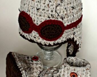 Aviator crocheted set for baby