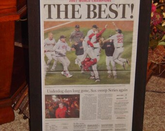 2007 Boston Red Sox original framed newspaper World Series Champions Edition cedar dark finish