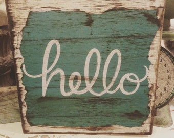 Distressed mod podged hello sign