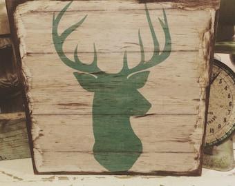 Distressed mod podged deer sign