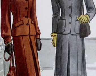 Vintage 1946 McCall's 6345 Ladies' & Misses' Two-Piece Suit Pattern  Size 12 Bust 30 **Epsteam