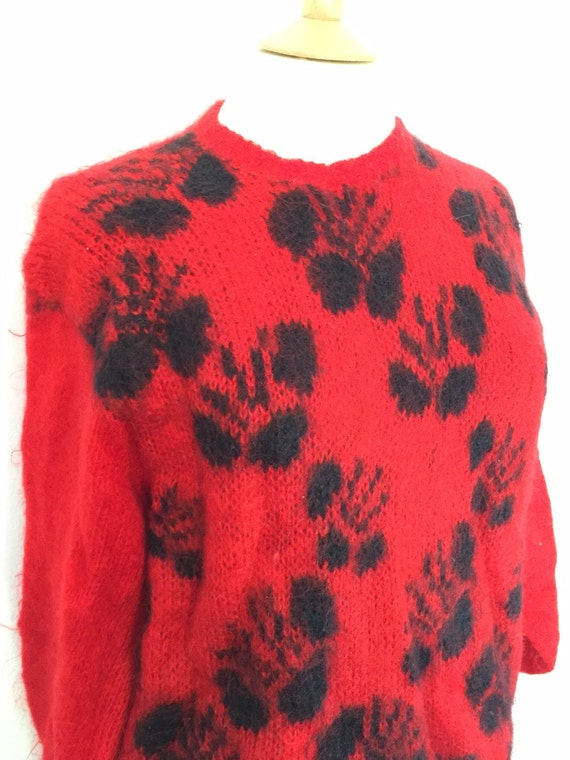 vintage mohair jumper flowery knitted oversized sweater red black fluffy long pullover 1980s 80s nu wave festival boho top UK 10 to 14