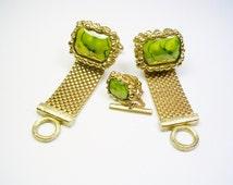 Mesh Wrap Cufflinks, Tie Tack Set / gold tone, DANTE / Italian Marble / Formal Wear / Men Wedding Jewelry / Groom Best Man / Cuff Links