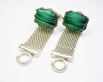 Vintage Cufflinks, silver tone, Machalite Stone, DANTE / Formal Wear / Men Wedding Jewelry / Groom Best Man / Cuff Links