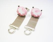 Mesh Wrap Around Cufflinks, Free Form pink Jade, DANTE / Formal Wear / Men Wedding Jewelry / Groom Best Man / Cuff Links / Man's Bling