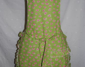Green and Pink Ruffled Apron
