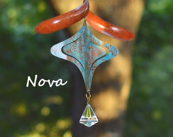 Nova Copper Wind Spinner with Hanging Copper Spiral or Glass Crystal Option