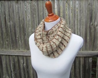 Crochet Infinity Scarf, Winter Apparel, Oatmeal Crochet Cowl, Ready to Ship by CROriginals