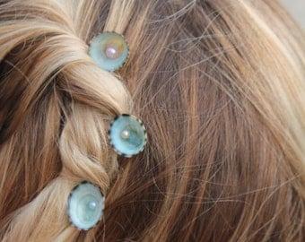 Opalescent Seashell Fresh Water Pearl Bobby Pin Mermaid Accessory Beach Wedding Ocean Hair Pins