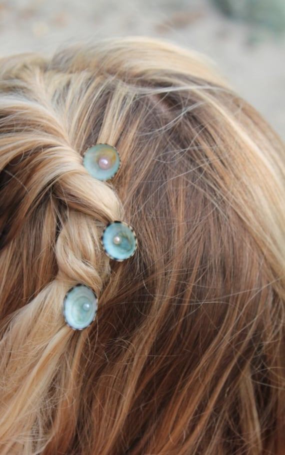 Opalescent Seashell Fresh Water Pearl Bobby Pin Mermaid Accessory Beach Wedding Ocean Hair Pins