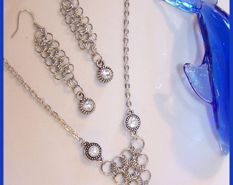 Metalwork and Rhinestone Neclace with Matching Earings