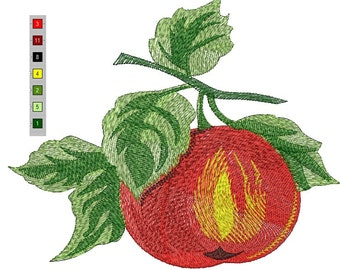 apple and leaves Machine Embroidery Design