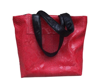 Shopper woman little buisness bag komodo dragon leather red