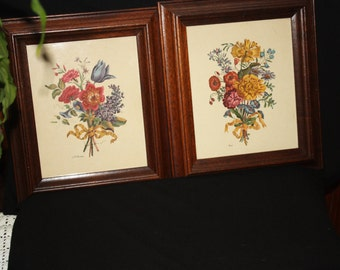 Vintage Pair Framed Floral Prints by Carle and Roubillac