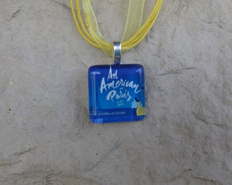 Broadway Musical An American in Paris Glass Pendant and Ribbon Necklace