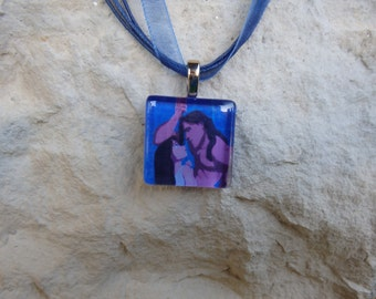 Disney Love Tarzan and Jane Porter Glass Pendant and Ribbon Necklace
