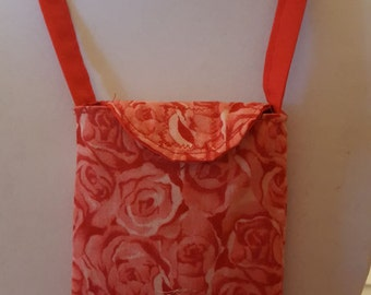 Cell Phone Holder Necklace--cotton red rose print with red strap