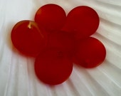 Sea Glass Beads -  Frosted Cherry Red Mini Concave Coin Cultured Sea Glass Pendant Beads - Top Drilled- 18mm   - 2pcs