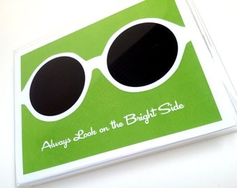 Retro Note Card with Sunglasses - Always Look on the Bright Side - Blank Inside - Notecard - Box of 12