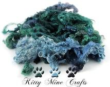 Teeswater Wool Locks from Emma - Hand Dyed Wool - Doll Hair, Spinning Art Yarn, Felting - 4-5 inches - Blue, Green