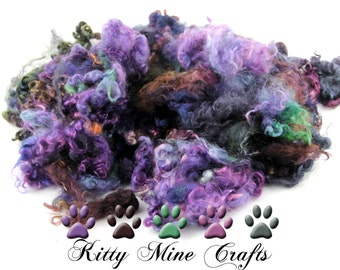 Kettle Dyed Wensleydale Wool Locks, 4-5 inches, 4.5oz - Doll Hair, Spinning, Felting - Hand Dyed Curly Locks - Purples and Greens
