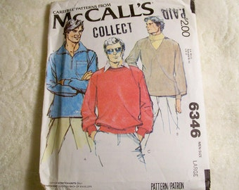 McCall's Pattern - 6346 - Men's Set Of Tops - For Stretch Knits Only - Size Large