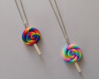 Handmade Polymer Clay Lollipop Necklace