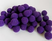 """Crochet beads 5 PCS  3/4""""  20 mm Royal Purple Wooden crochet cotton beads Crocheted bead Round beads Necklaces"""