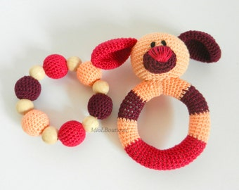 Baby rattle SET of 2 Crochet Baby toy Grasping Teething Toys Dog Teether Stuffed toys Gift for baby Girls Boys Baby shower gift