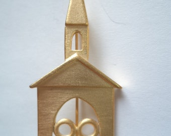 Vintage Signed JJ Gold pewter Church Brooch/Pin