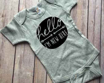 Hello Im New Here, Hi I'm new here shirt, newborn photo shoot, coming home, gray bodysuit, gender neutral, baby shower gift